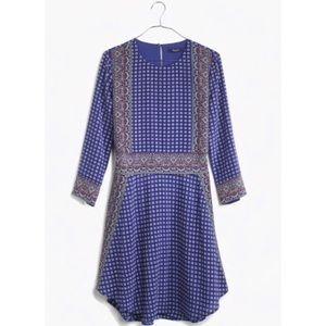 Madewell Silk Ascot Grid Tee Dress